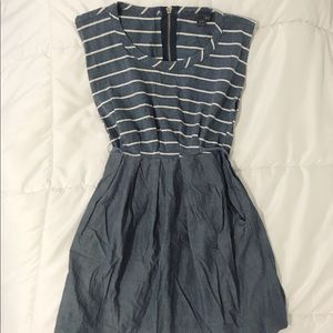 Forever 21 Striped Chambray Dress